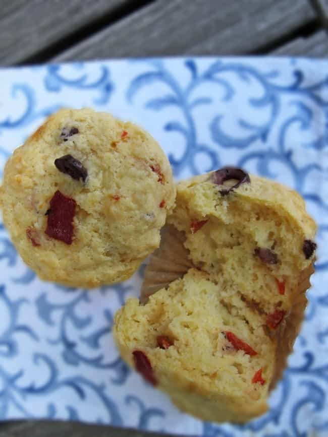 savory muffins with harissa, olives and roasted red pepper