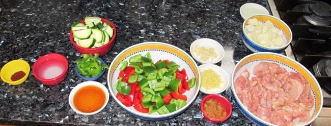 organizing ingredients before stir frying