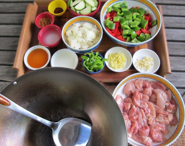 ingredients for stir fried chili chicken ready to use