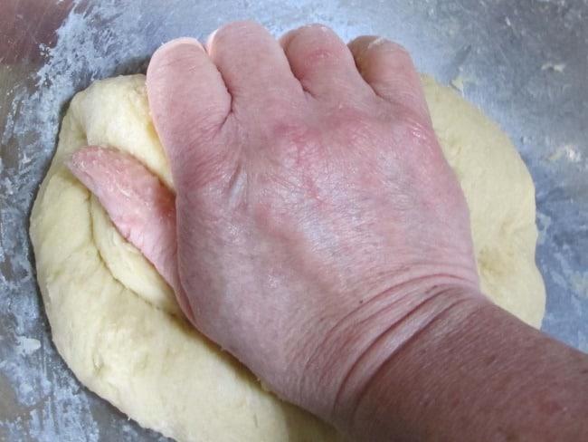 kneading challah or brioche
