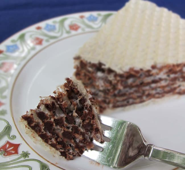 piece of Russian wafer cake or oblatne