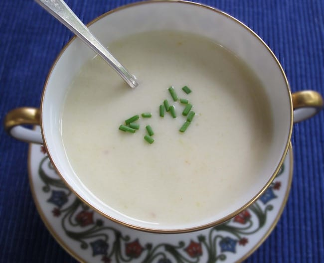 Julia Child's Vichyssoise ready to eat