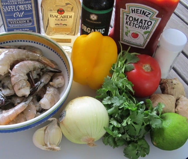 ingredients for stir fried shrimp with rum sauce