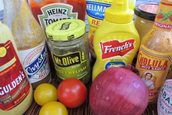 array of condiments for great burgers
