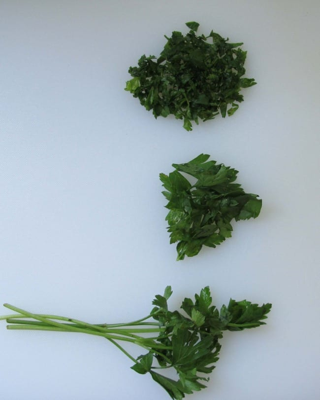 finely chopping parsley