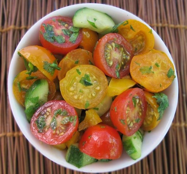 cherry tomato and cucumber salad