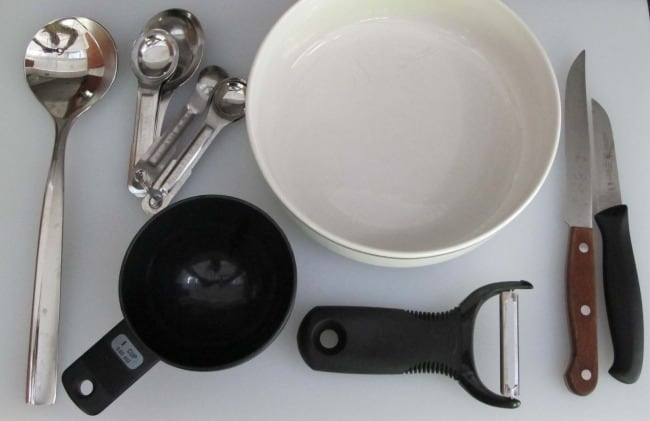 equipment to make for cherry tomato and cucumber salad