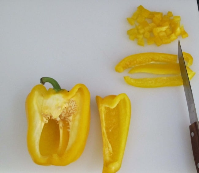dicing peppers for salad