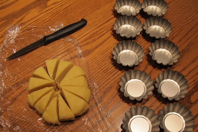 cutting dough for making tartlets