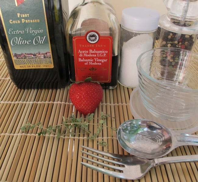ingredients and equipment to make salad dressing
