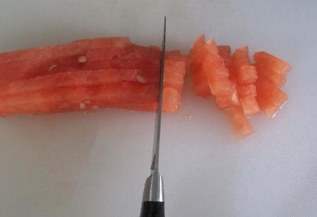 dicing watermelon