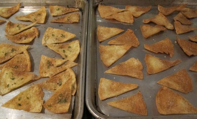 baking homemade pita chips