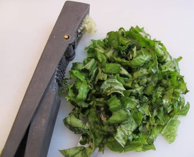 Chopping fresh basil