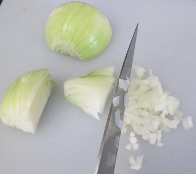chopping onion for chutney