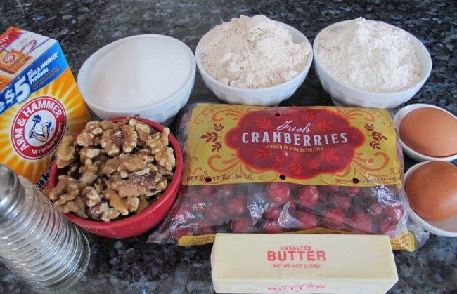 ingredients to make cranberry bread