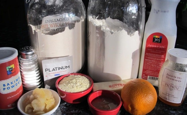 ingredients for crumpet or English muffin recipe