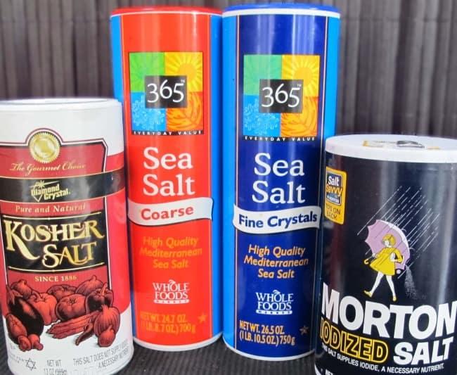 sea salt, kosher salt, table salt