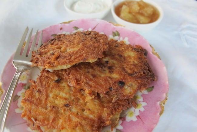 a plate of latkes or potato pancakes for Chanukah