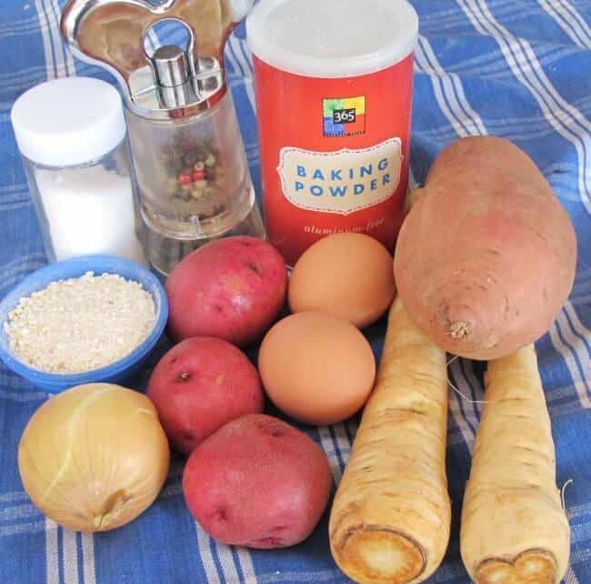 ingredients for sweet potato, white potato and parsnip latkes for Hanukkah