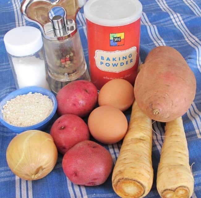 ingredients for sweet potato, white potato and parsnip latkes for Hanukkah