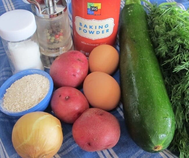 ingredients for zucchini and potato latkes with dill for Hanukkah
