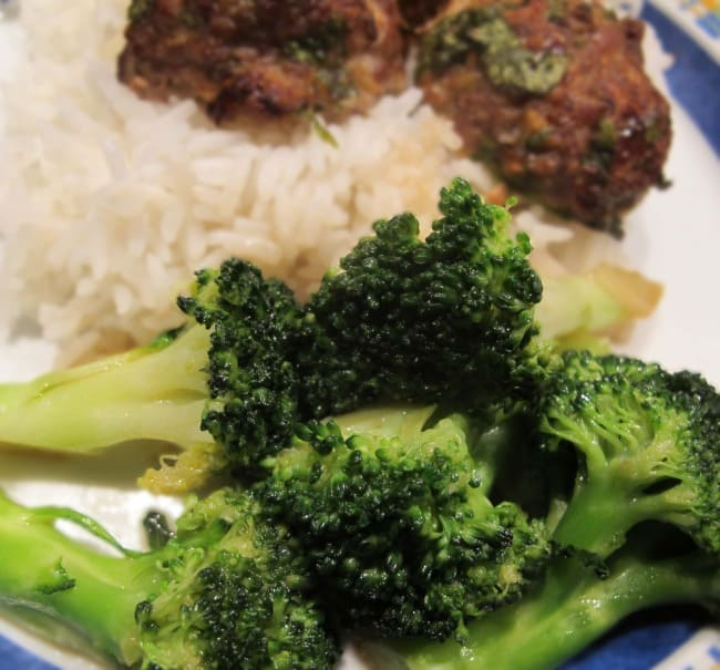 stir-fried ginger broccoli and Asian meatballs