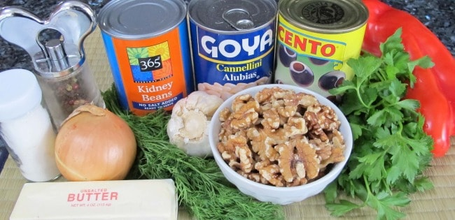 ingredients for vegetable pate recipe