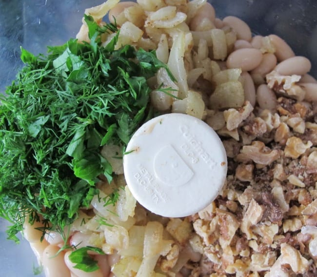 making bean mixture for vegetable pate with nuts