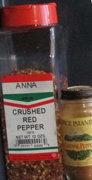 bulk container of crushed red pepper