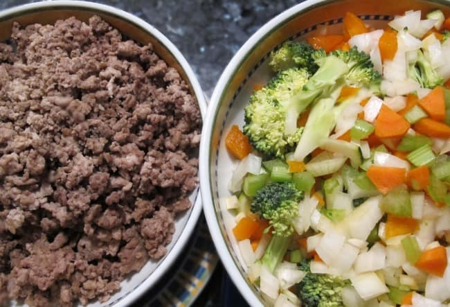 cooked, chopped meat and chopped vegetables for shepherd's pie
