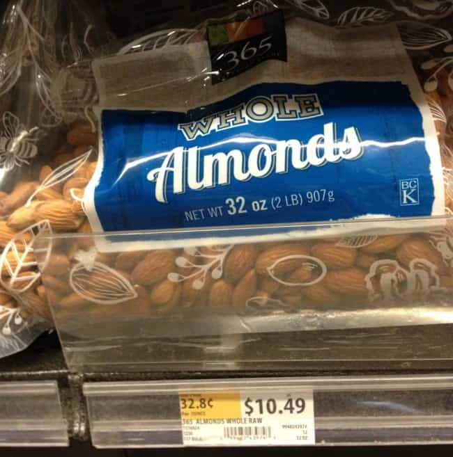 2 pound package of raw almonds