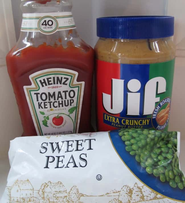 ketchup, peanut butter and frozen peas