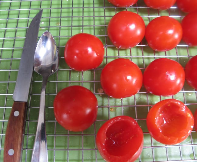 hollowing out tomatoes before stuffing them