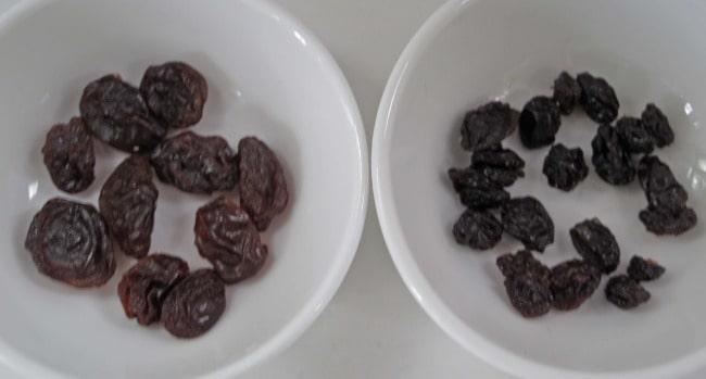 Compare raisins to currants.