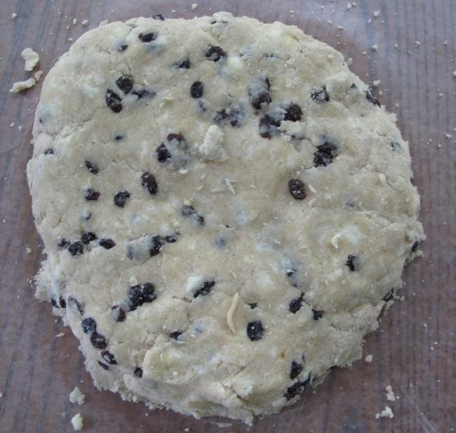 Scone dough before it is cut.