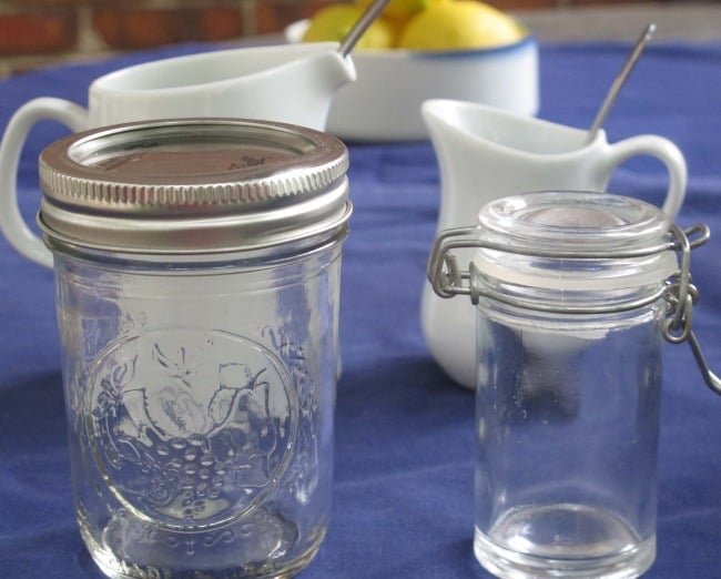 jars and pitchers for making salad dressing