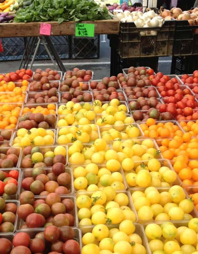 lots of tomatoes at the farmers market