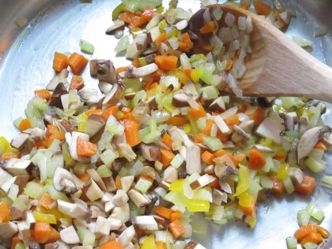 cooking mushrooms -for-lentil-salad