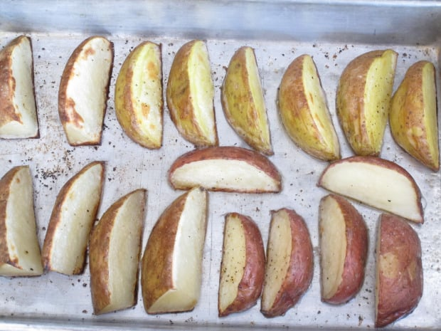 a pan of roasted potatoes