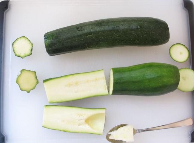 cutting zucchini for stuffing