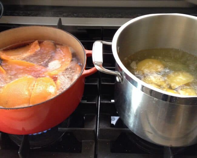 boiling grapefruit and lemon peels