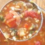 mushroom barley soup ready to eat
