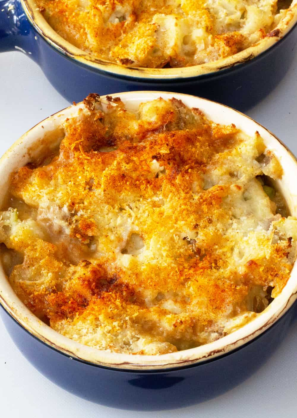 two bowls of single serving shepherds pie