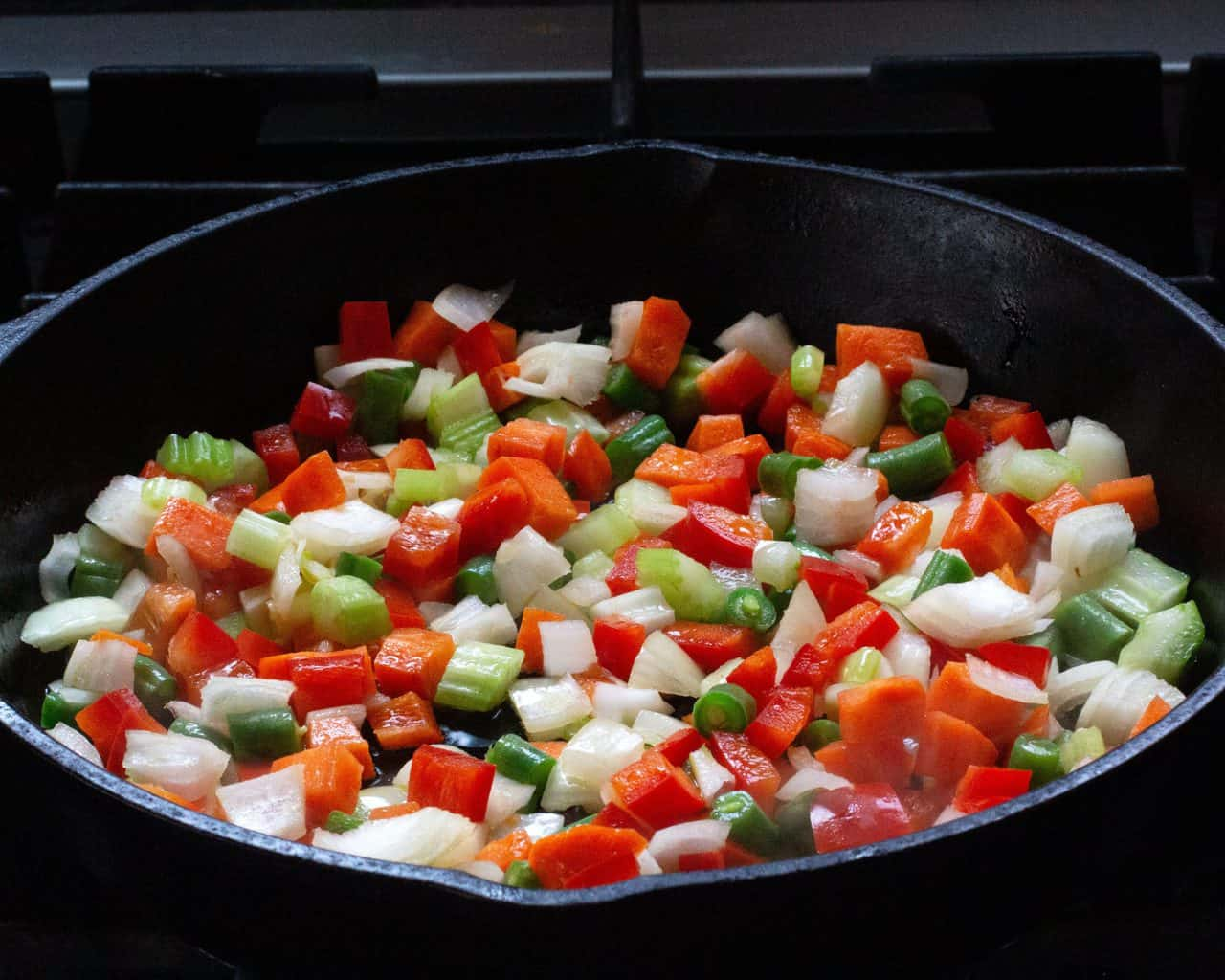 sauteeing hard vegetables for single serving shepherds pie