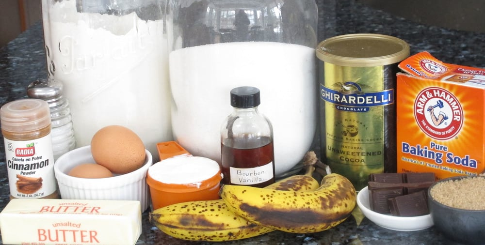 ingredients for chocolate banana cupcakes