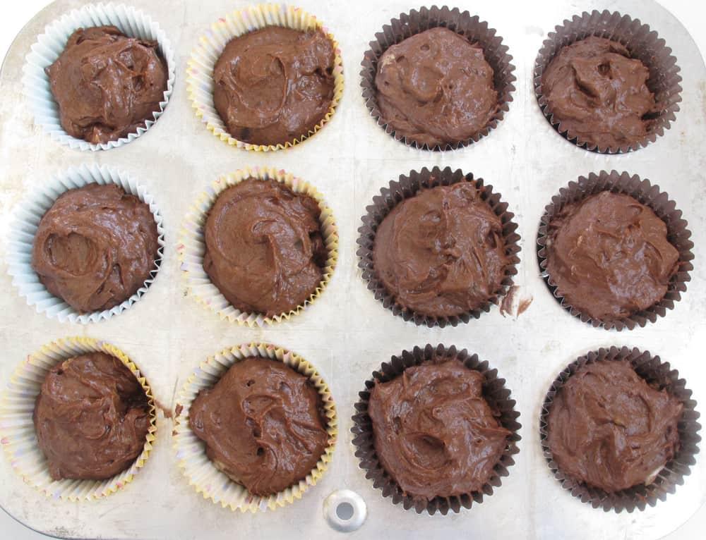 chocolate banana cupcakes ready to bake - in cupcake tin