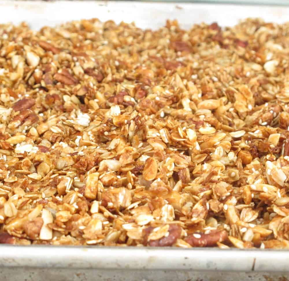 Granola containing unsweetened coconut substituted for sweetened.