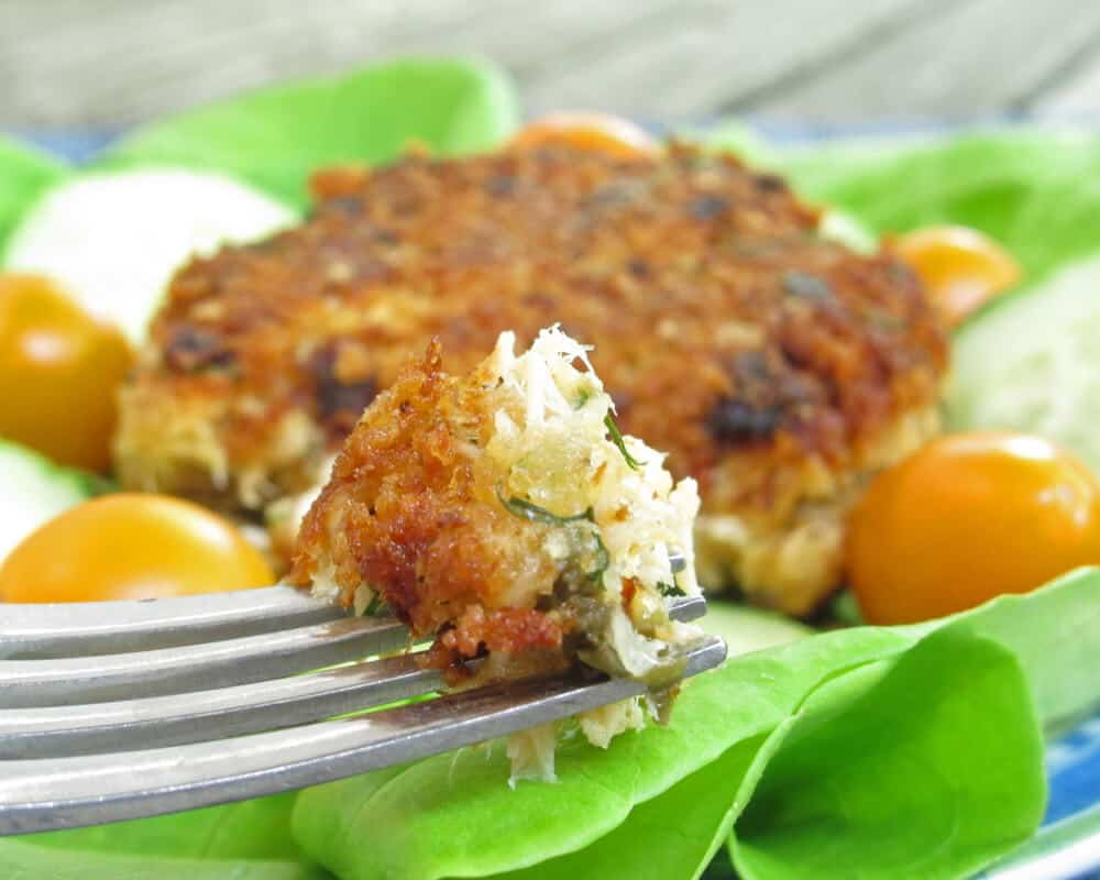 Salmon cakes made with canned or fresh salmon.