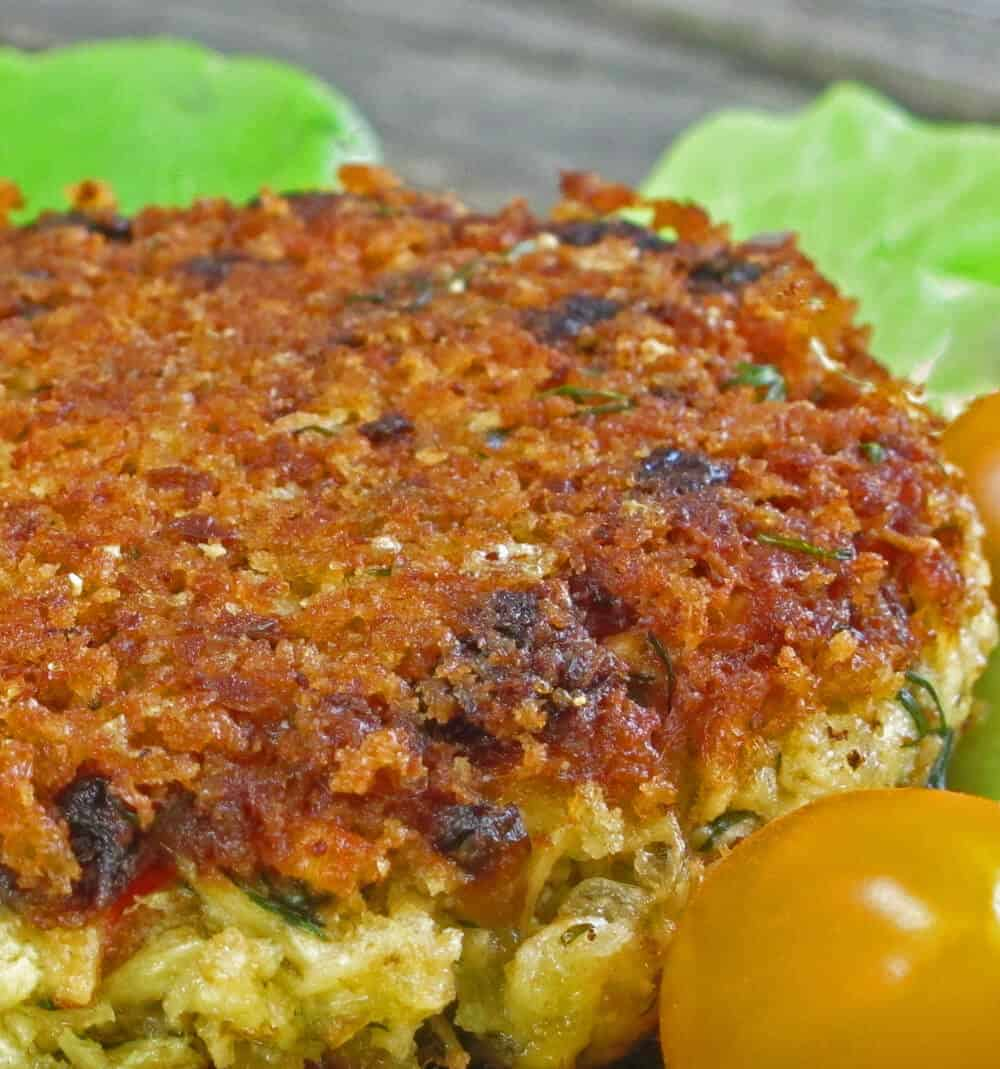 Cooked salmon cake or burger.