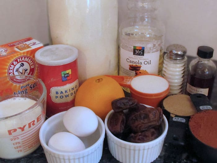 Ingredients for jumbo chocolate muffins.